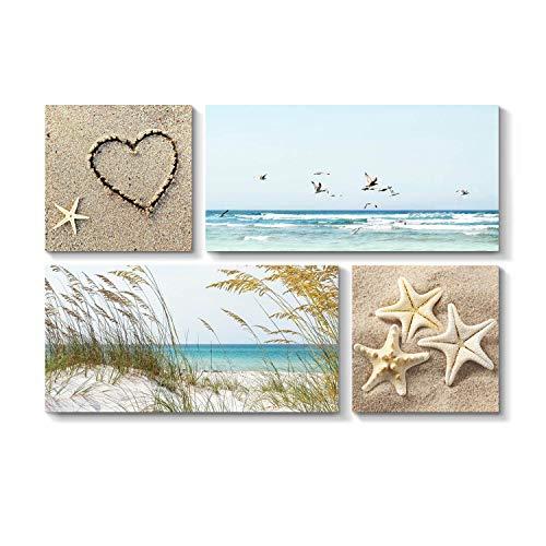 Seagrass Canvas Wall Decor - Coastal Landscape Artwork Seascape Picture - Sea Grass & Sea Life on Beach for Wall
