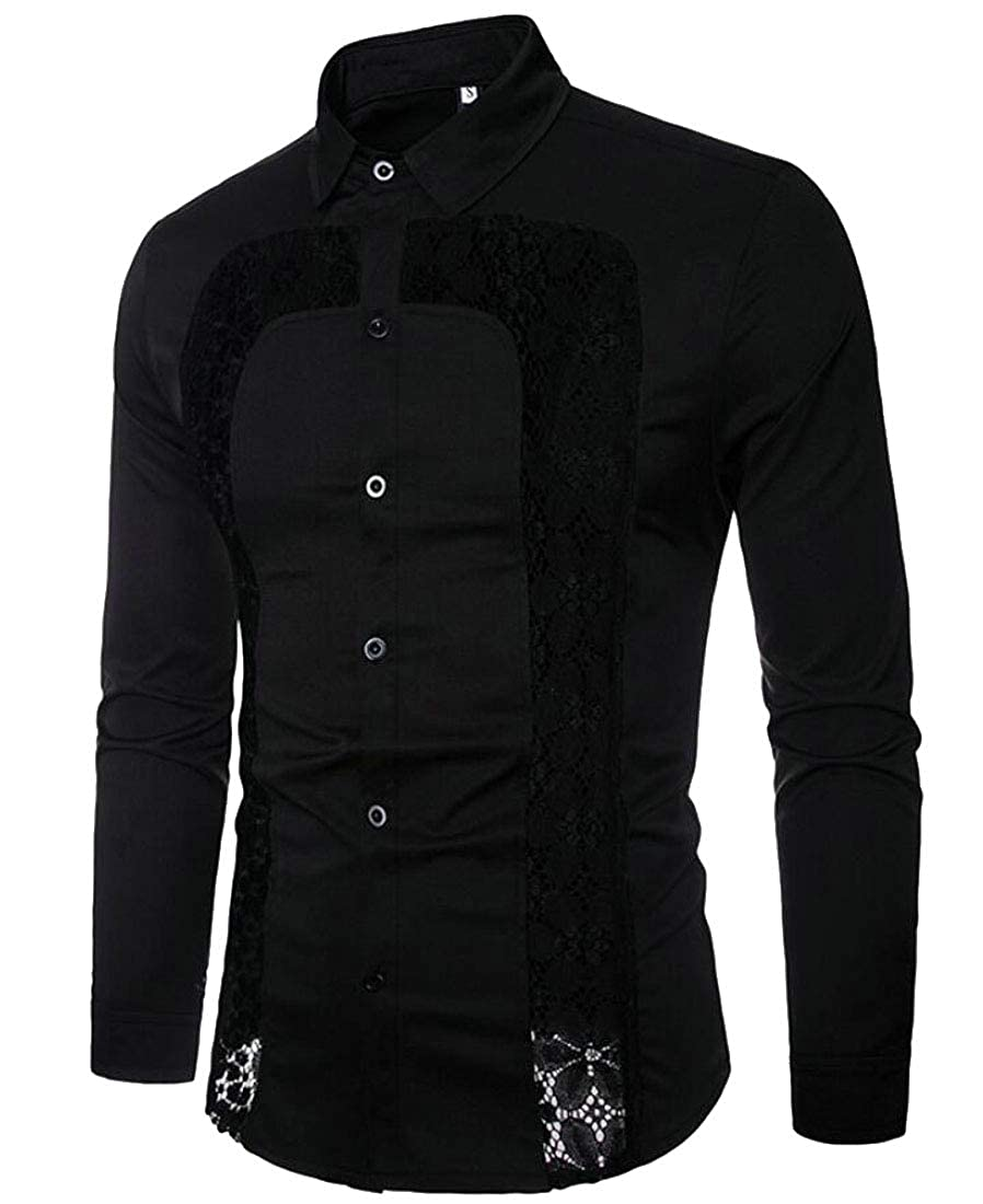 Rrive Men Lapel Solid Color Buttons Fall Loose Floral Lace Shirts