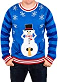 Festified Mens Excited Snowman Ugly Funny Christmas Sweater in Blue By