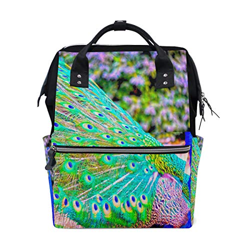 Fashion Diaper Bags Mummy Backpack Peacock Bird Multi Functions Large Capacity Nappy Bag Nursing Bag for Baby Care for Traveling ()