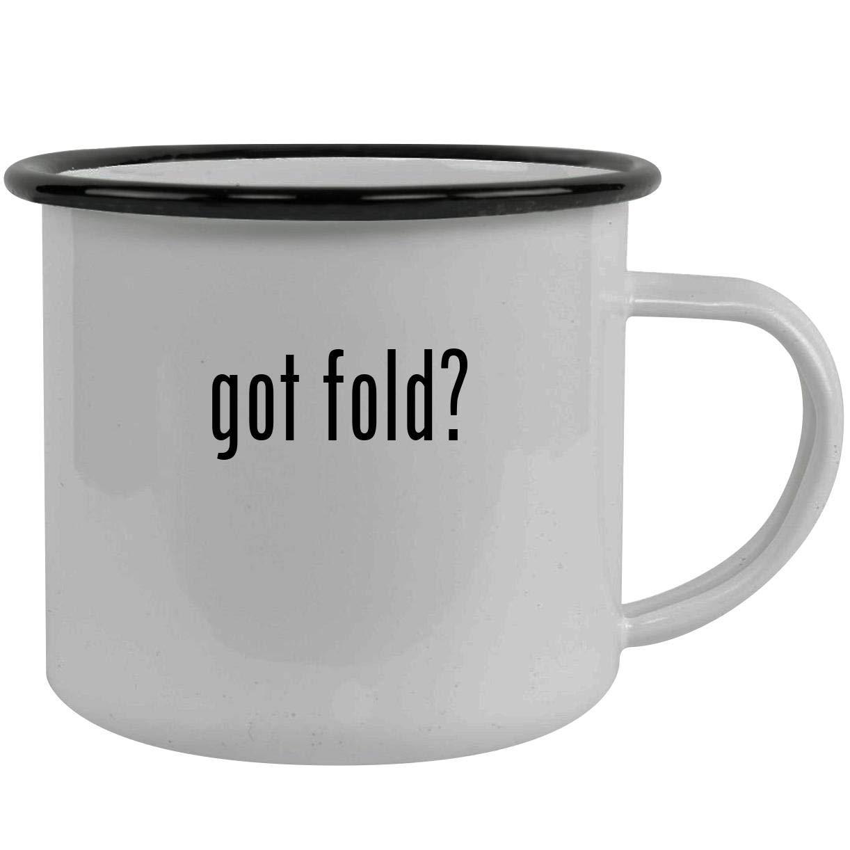 got fold? - Stainless Steel 12oz Camping Mug, Black