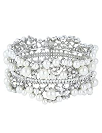 Ever Faith Bridal Silver-Tone Flower Simulated Pearl Stretch Bracelet Clear Austrian Crystal N01352-1