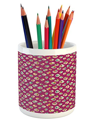 Ambesonne Leaves Pencil Pen Holder, Leafage with Various Col