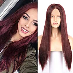 Fennell Long Straight Burgundy Synthetic Lace Front Wigs For Ladies Wine Red Heat Resistant Fiber Hair Wig (22 inches, Burgundy)