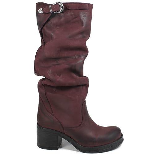 83bf3196f7 In Time Stivali Biker Boots Alti Tacco Donna 0310 Bordeaux Arricciati in  Vera Pelle Made in Italy Taglia 39