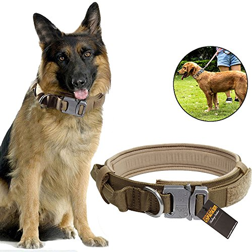 Adjustable Nylon Dog Collar Military Tactical Training with Control Handle, Metal Buckle & ID Tag 1.5inch (Coyote (Classic Army Silencer)