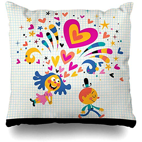 Throw Pillow Covers Decor Cases Desire Heart Girl Falling Love Abstract Valentine Happy Teenage Comic Emotion Youth Adoration Design Home Pillowcase Square 18 x 18 Inch Zippered Cushion Case ()