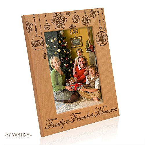 Family, Friends and Memories Christmas Ornaments - Engraved Natural Wood Picture Frame (5