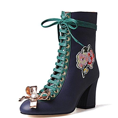 la de piel Azul pantorrilla de de la flores Toe mitad encaje mano botas talón Nueve a auténtica siete mujer Pearl de diseño hecho ronda Chunky S6qREBIw