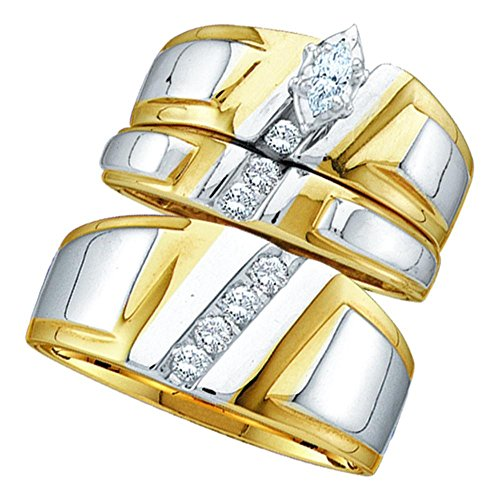 (Jewels By Lux 10kt Yellow Gold His & Hers Marquise Diamond Solitaire Matching Bridal Wedding Ring Band Set 1/4 Cttw = 0.25 (I2-I3 clarity; I-J color) Ring Size 10)