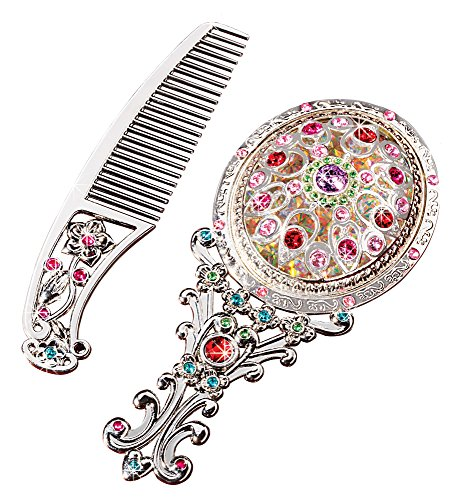 The Paragon Petite Vanity Set - Embellished Mini Hand Mirror Comb Set (Vanity Table Diva)
