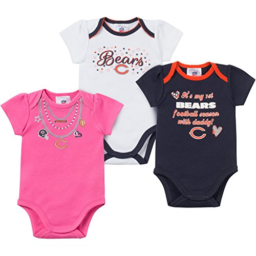 Cubs Chicago Onesie (NFL Chicago Bears Bodysuit (3 Pack), 3-6 Months, Navy/White/Pink)