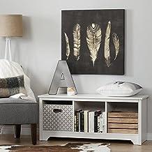 South Shore Furniture Vito Cubby Storage Bench, Pure White