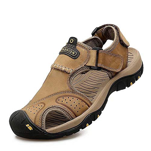 Wonvatu Mens Sport Sandals Outdoor Hiking Leather Sandal Fisherman Beach Casual Shoes Strap Water Sandals Khaki