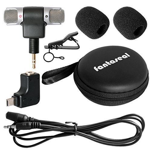 Fantaseal Stereo Mic Kit for GoPro Microphone GoPro Travelling Microphone GoPro Interview Microphone w Stereo Windproof Mic +Extension Cable + Sterero GoPro Mic Adapter Converter for Hero 4 3+ 3
