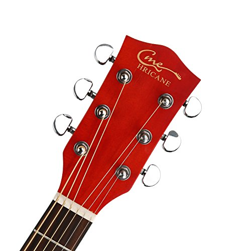 hricane acoustic guitar 41 full size dreadnought steel string folk guitar for beginners adult. Black Bedroom Furniture Sets. Home Design Ideas