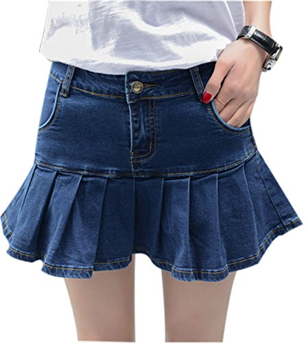 Yeokou Women's Casual Slim A-line Pleated Ruffle Short Mini Denim Skirts (Large, Blue) Button Pleated Mini Skirt