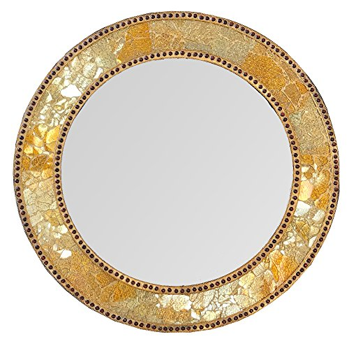 DecorShore 24″ Gold & Citrine, Round Wall Mirror, Crackled Glass Mosaic, Decorative Design by For Sale