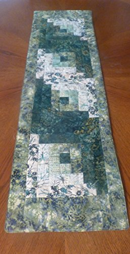 Quilted Table runner Log Cabin Design Batiks Shades of Green and (Quilted Shade)