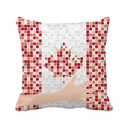 - cold master DIY lab Canada National Flag Maple Leaf Mosaic Hand Throw Pillow Square Cover