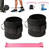 #2: Ankle Straps for Cable Machines and Resistance Band plus Carry Bag double stitching and reinforced D-rings- Padded Ankle Strap Attachment for Weightlifting Leg Gym Workout, Fitness Ankle Cuffs(Black)