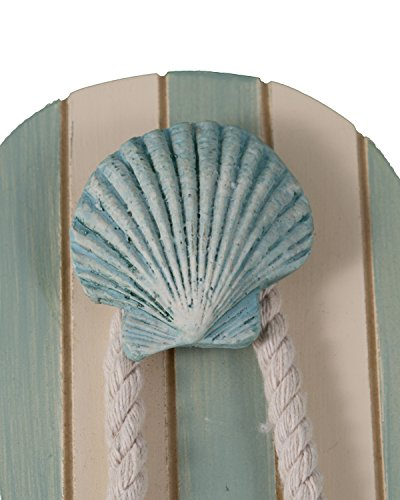 Tumbler Home Tropical Flip Flop Wall Hooks - Set of 2-10 Inch Tall With Seashell and Starfish Accents by
