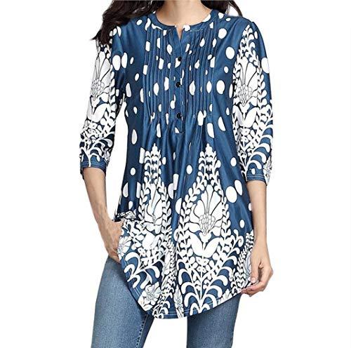 Womens Tops Clearance,KIKOY Three Quarter Sleeved Circular Neck Printed Tops Loose T-Shirt Blouse