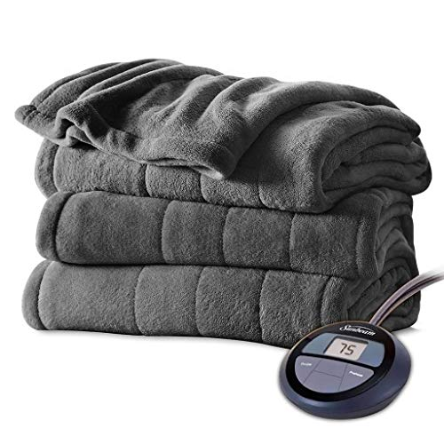 Sunbeam Channeled Velvet Plush Electric Heated Blanket Twin Slate (Best Electric Blanket Twins)