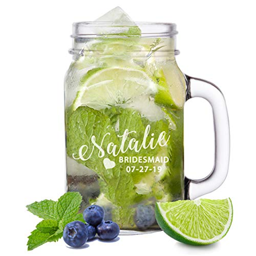 (Bridesmaid Mason Jar Tumbler Cups - Custom Personalized for Wedding Bridal Party Mason Jars - Engraved for Free)