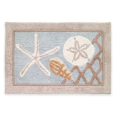 Avanti Sea Glass 20-Inch x 30-Inch Bath Rug - Nothing represents the ocean and all its majestic beauty better than seashells The Avanti Sea Glass Bath Ensemble captures the spirit of the ocean Coordinate with accessories in the Sea Glass Bath Ensemble from Avanti for a complete look (each sold separately) - bathroom-linens, bathroom, bath-mats - 51cffpKSuNL. SS400  -