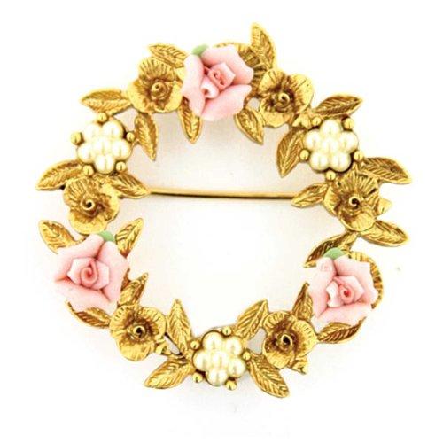 Wreath Brooch (1928 Jewelry Porcelain Rose Floral Wreath Brooch)