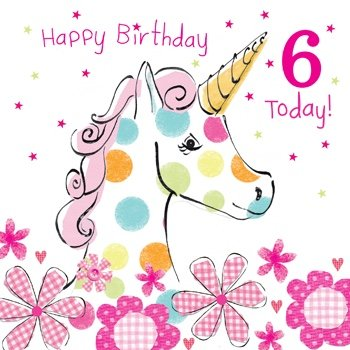 Olive Belle Unicorn 6th Birthday Card
