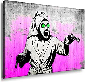 Banksy Graffiti Street Art -1182, Size 100x70x2 Cm. Printed On Canvas Stretched On A Wooden Frame.