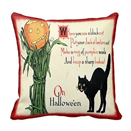 Vintage Halloween Black Cat Pumpkin Pillow Cover 20