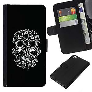 Be-Star la tarjeta de Crédito Slots PU Funda de cuero Monedero caso cubierta de piel Para HTC Desire 820 ( Black Biker White Skull Eyes Rock )