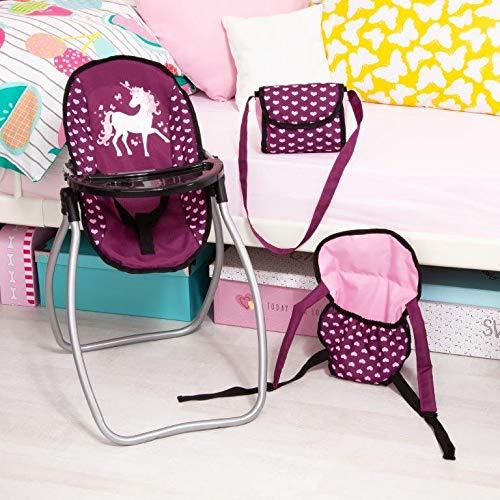 Bayer Design 63637/AB 9-in-1/Vario Set con seggiolone Piatto Unicorn Style forchetta Rosa Viola Vettore Borsa Cucchiaio Accessori per Bambole