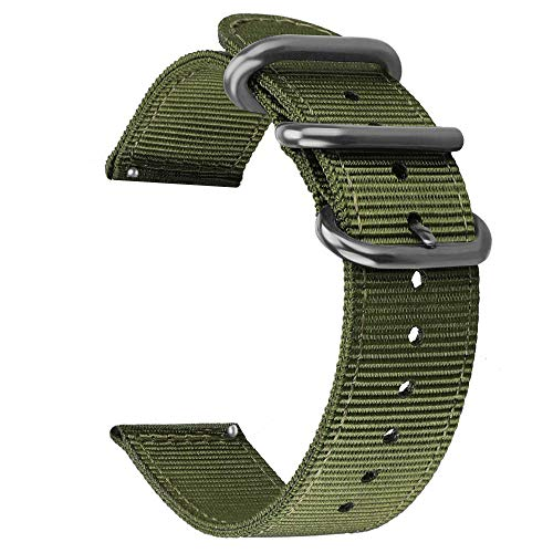 Xiaomi Amazfit Bip Band,ViCRiOR Premium Soft NATO Woven Nylon Quick Release Replacement Strap Watch Band with Metal Buckle for for Xiaomi Amazfit Bip Women Men, Army Green