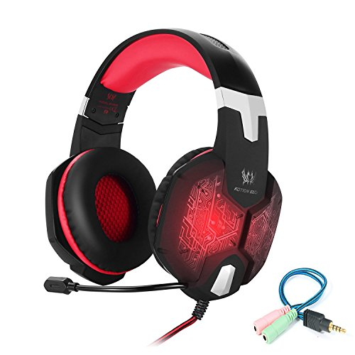 Cheap Gaming Headset for PC Mac Laptop PS4 Xbox one,3.5mm Stereo Headphones with in-line Mic,Integrated Microphone,Over-ear fit with Noise isolation,Integrated Breathing LED Light(Red)