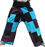 RaanPahMuang Brand Muang Patch Black Waist Fisherman Wrap Pants, X-Large, Black/Violet/Blue