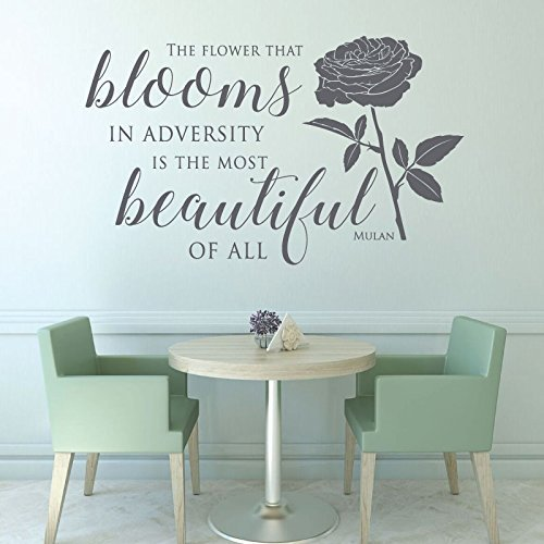 disney office decor. disney quotes wall decals flower blooms in adversity from mulan movie vinyl art office decor