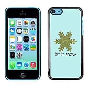 X-ray Impreso colorido protector duro espalda Funda piel de Shell para Apple iPhone 5C - Snowflake Blue Gold Text Winter