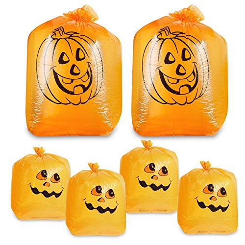 Juvale Pack of 6 Pumpkin Leaf Bag - Small and Medium Sized Pumpkin Trash Bags - The Perfect Fall Lawn Decoration, Orange