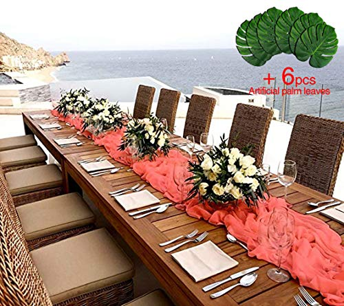 B-COOL Coral Chiffon Table Runners+6pcs Tropical Palm Leaves Sheer Table Runner Wedding Reception Top Table Decoration (Wedding Top Table Decorations)