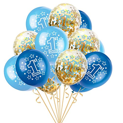 Gbell  Confetti Balloons Blue and Gold,15 Pcs/Set Air Balloon 12