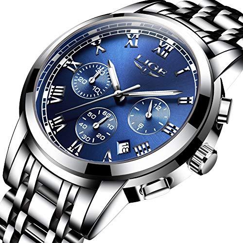 Watches Mens Full Steel Quartz Analog Quartz Watch Man Luxury Brand LIGE Chronograph Waterproof Date Business Wristwatch Blue -