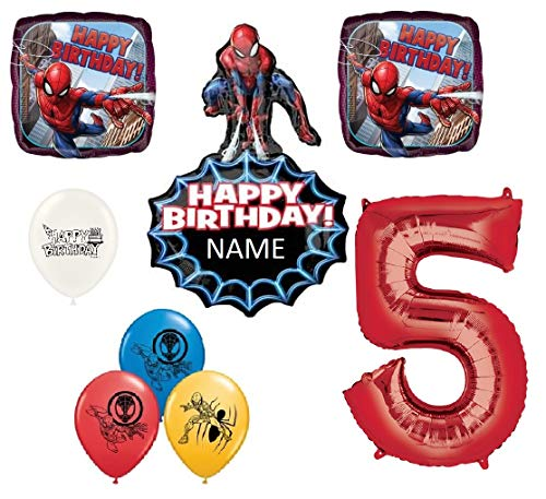 - The Ultimate Personalized Spiderman 5th Birthday Party Event Bouquet of Balloons