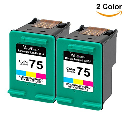 Valuetoner Remanufactured Ink Cartridge Replacement For Hewlett Packard HP 75 CZ070FN CB337WN (2 Tri-Color) 2 Pack