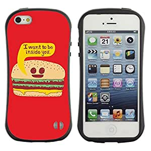 Hybrid Anti-Shock Bumper Case for Apple iPhone 5 5S / Burger