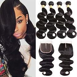VTAOZI Brazilian Body Wave 4 Bundles With Closure Natural Color Weave 100% Unprocessed Brazilian Virgin Hair With Closure Human Hair Extensions With Lace Closure (18 20 22 24 & 16 Middle Part)