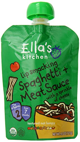 2 Spaghetti (Ella's Kitchen Organic Stage 2, Spaghetti + Meat Sauce with a Sprinkle of Cheese, 4.5 Ounce (Pack of 6))